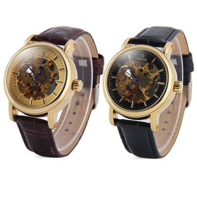 ФОТО BiaoQi Hollow - out Automatic Mechanical Watch Round Dial Leather Band for Men