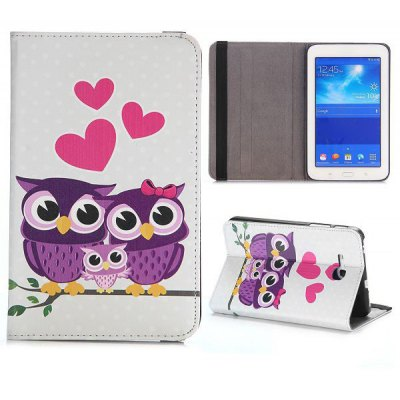 Foldable 360 Rotation Elastic Belt Flip Stand PC + PU Leather Cover with Family Owls Pattern for Samsung Galaxy Tab 3 Lite T110 T111