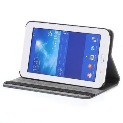 Foldable 360 Rotation Elastic Belt Flip Stand PC + PU Leather Cover Owl and Tree Pattern for Samsung Galaxy Tab 3 Lite T110 T111