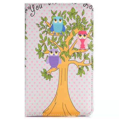 360 Rotation Elastic Belt Flip Stand PC + PU Leather Cover Owl and Tree Pattern for Samsung Galaxy Tab S 8.4 T700 T705