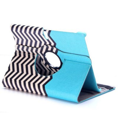 Фотография 360 Rotation Elastic Belt Flip Stand PC + PU Leather Cover with Wave Line Pattern for Samsung Galaxy Tab S T800 T805