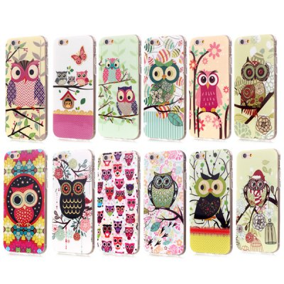 ФОТО Shimmering Powder Owl Pattern TPU Material Back Case for iPhone 6  -  4.7 inches