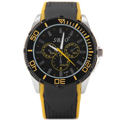 Гаджет   S - 500 Large Dial Rubber Band Sports Watch with Decorative Sub - dial Men