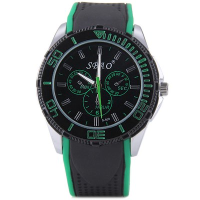 S - 500 Large Dial Rubber Band Sports Watch with Decorative Sub - dial