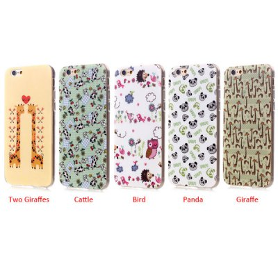ФОТО Ultrathin Two Giraffes Pattern TPU Material Back Case for iPhone 6  -  4.7 inches