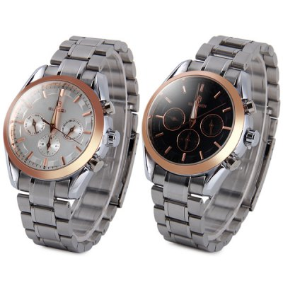 ФОТО BiaoQi 6121 Working Sub - dials Male Quartz Watch Water Resistant Stainless Steel Strap