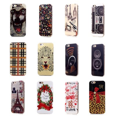 ФОТО Ultrathin Gun and Eiffer Tower Pattern TPU Material Back Case for iPhone 6  -  4.7 inches