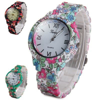 Geneva Female Quartz Watch with Flower Rubber Band Round DialWomens Watches<br>Geneva Female Quartz Watch with Flower Rubber Band Round Dial<br><br>Brand: Geneva<br>Watches categories: Female table<br>Available color: Multi-color, Green<br>Style : Fashion&amp;Casual<br>Movement type: Quartz watch<br>Shape of the dial: Round<br>Display type: Analog<br>Case material: PVC Plastic<br>Band material: Rubber<br>Clasp type: Folding clasp with safety<br>The dial thickness: 1.1 cm / 0.43 inches<br>The dial diameter: 3.8 cm / 1.49 inches<br>The band width: 1.6 cm / 0.63 inches<br>Product weight: 0.048 kg<br>Package weight: 0.098 kg<br>Product size (L x W x H) : 13.3 x 3.8 x 1.1 cm / 5.23 x 1.49 x 0.43 inches<br>Package size (L x W x H): 14.3 x 4.8 x 2.1 cm / 5.62 x 1.89 x 0.83 inches<br>Package contents: 1 x Geneva Watch