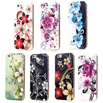 Гаджет   Ultrathin Flower Pattern TPU Material Back Case for iPhone 6 Plus  -  5.5 inches iPhone Cases/Covers