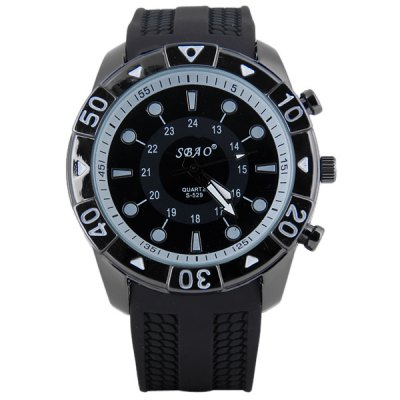 Гаджет   S - 529 Large Dial Rubber Band Sports Watch with Round Dot Time Scale Men