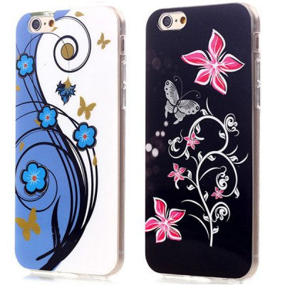 ФОТО Ultrathin Butterfly and Flower Pattern TPU Material Back Case for iPhone 6  -  4.7 inches