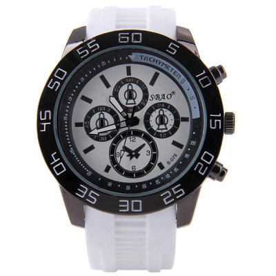 S - 079 Large Dial Rubber Band Sports Watch with Decorative Sub - dial