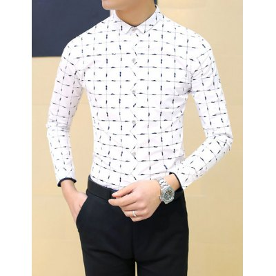 Гаджет   Causal Turn-down Collar Personality Plaid Print Slimming Solid Color Long Sleeves Men