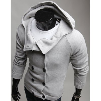 Гаджет   Laconic Hooded Solid Color Double Breasted Slimming Long Sleeves Men