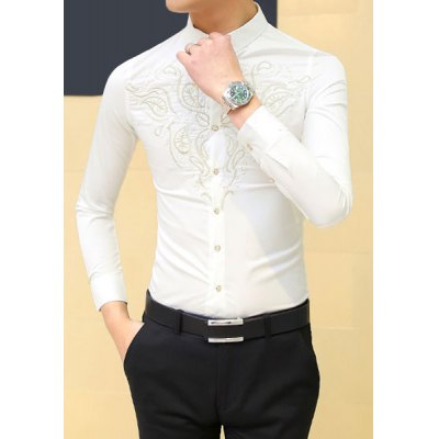 Гаджет   Stylish Shirt Collar Slimming Paisley Embroidered Long Sleeve Cotton Blend Shirt For Men Shirts
