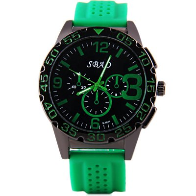 S - 1071 Large Dial Rubber Band Sports Watch with Decorative Sub - dial