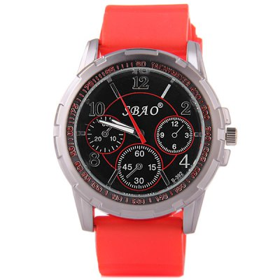 Гаджет   S - 392 Large Dial Rubber Band Sports Watch with Decorative Sub - dial Men