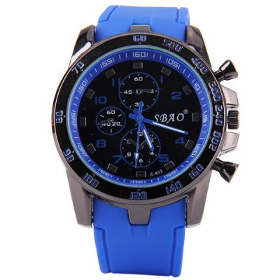Гаджет   S - 453 Large Dial Rubber Band Sports Watch with Decorative Sub - dial Men