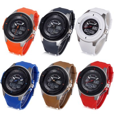 Shhors 807 Jiangyuyan Military LED Watch Dual Movt Water Resistant Day and Date Sports Wristwatch