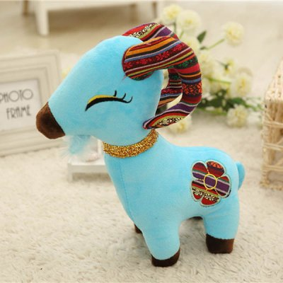 Cute 20cm Goat Plush Doll Stuffed Toy with Flower Pattern New Year Children Gift