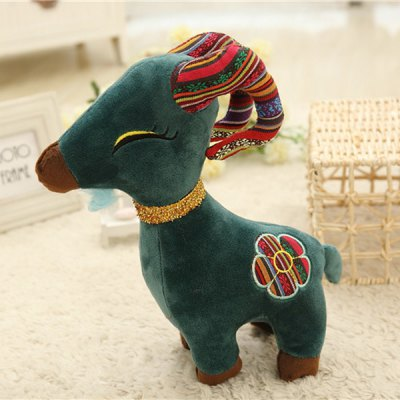 20cm Goat Plush Doll Stuffed Toy with Flower Pattern