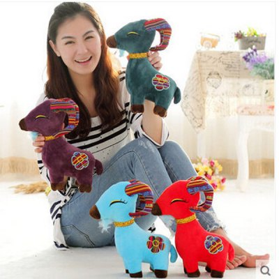 Гаджет   Cute 30cm Goat Plush Doll Stuffed Toy with Flower Pattern New Year Children Gift Dolls & Action Figures