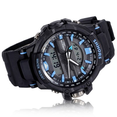 Фотография Shhors 788 Jiangyuyan Water Resistant Sports LED Watch Double Time Date Day Function