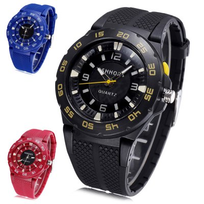 Shhors Jiangyuyan Digital Analog LED Sports Military Watch Water ResistantSports Watches<br>Shhors Jiangyuyan Digital Analog LED Sports Military Watch Water Resistant<br><br>People: Unisex table<br>Watch style: Outdoor Sports, LED, Fashion&amp;Casual, Military<br>Available color: Blue, Black, Red<br>Shape of the dial: Round<br>Movement type: Double-movtz<br>Display type: Analog-Digital<br>Case material: Alloy<br>Band material: Rubber<br>Clasp type: Pin buckle<br>Water Resistance: 30 meters<br>The dial thickness: 1.2 cm / 0.47 inches<br>The dial diameter: 4.5 cm / 1.77 inches<br>The band width: 2.0 cm / 0.81 inches<br>Product weight: 0.040 kg<br>Package weight: 0.09 kg<br>Product size (L x W x H) : 27 x 4.5 x 1.2 cm / 10.61 x 1.77 x 0.47 inches<br>Package size (L x W x H): 28 x 5.5 x 2.2 cm / 11.00 x 2.16 x 0.86 inches<br>Package contents: 1 x Shhors Watch
