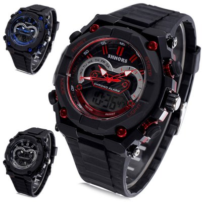Shhors 802 Jiangyuyan Military LED Watch Dual - movt Water Resistant Day and Date Sports WristwatchSports Watches<br>Shhors 802 Jiangyuyan Military LED Watch Dual - movt Water Resistant Day and Date Sports Wristwatch<br><br>People: Unisex table<br>Watch style: Military, Outdoor Sports, LED, Fashion&amp;Casual<br>Available color: Red, Blue, Silver<br>Shape of the dial: Round<br>Movement type: Double-movtz<br>Display type: Analog-Digital<br>Case material: Alloy<br>Band material: Rubber<br>Clasp type: Pin buckle<br>Special features: Day, Date, EL Back-light<br>Water Resistance: 30 meters<br>The dial thickness: 1.6 cm / 0.63 inches<br>The dial diameter: 5.3 cm / 2.08 inches<br>The band width: 2.2 cm / 0.87 inches<br>Product weight: 0.060 kg<br>Package weight: 0.11 kg<br>Product size (L x W x H) : 26 x 5.3 x 1.6 cm / 10.22 x 2.08 x 0.63 inches<br>Package size (L x W x H): 27 x 4.3 x 2.6 cm / 10.61 x 1.69 x 1.02 inches<br>Package contents: 1 x Shhors 802 Watch