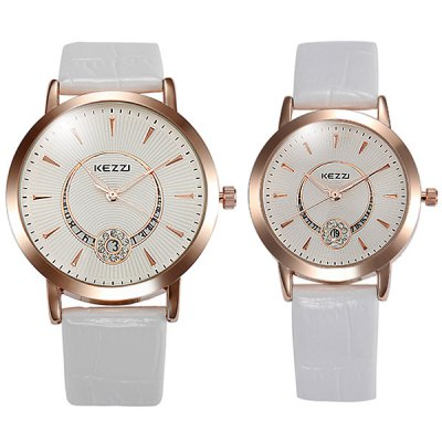 Kezzi Quartz Watch Analog Watches Round Dial Leather Strap for Couple