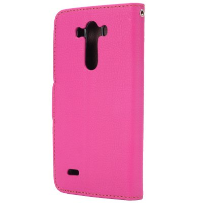 Фотография Leaf Magnetic Buckle Lichee Pattern Phone Cover PU Case Skin with Stand Function for LG G3 D850