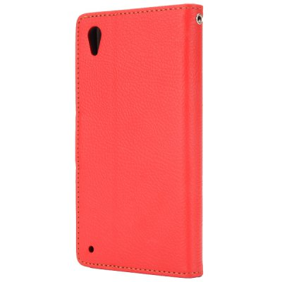 Фотография Leaf Magnetic Buckle Lichee Pattern Phone Cover PU Case Skin with Stand Function for Sony L39h Xperia Z1