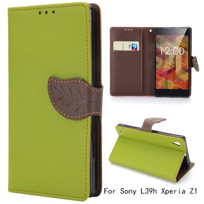 Leaf Magnetic Buckle Lichee Pattern Leather Case for Sony L39h Xperia Z1