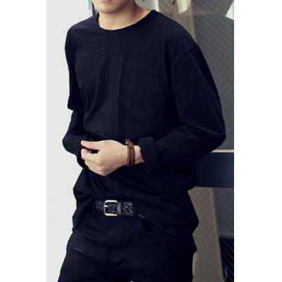 Гаджет   Stylish Round Neck Loose Fit Solid Color One Pocket Long Sleeve Polyester T-Shirt For Men Men