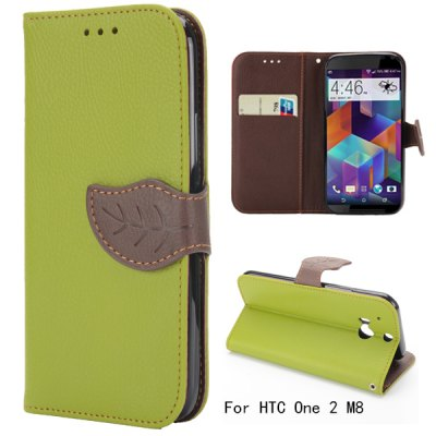 Leaf Magnetic Buckle Lichee Pattern Leather Case for HTC One 2 M8