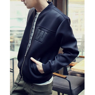 Гаджет   Loose-Fitting Stand Collar Letter Embroidery Zipper Fly Long Sleeves Men