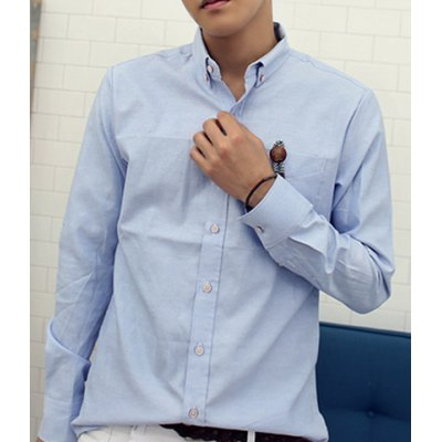 Гаджет   Stylish Shirt Collar Fitted Solid Color Button Design Long Sleeve Polyester Shirt For Men