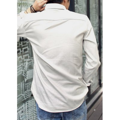 Гаджет   Stylish Shirt Collar Fitted Solid Color Button Design Long Sleeve Polyester Shirt For Men Shirts