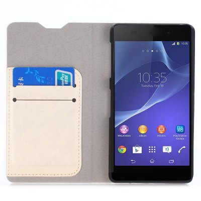 Фотография Crystal Grain Phone Cover PU Case Skin with Stand Function for Sony Xperia Z2a D6563