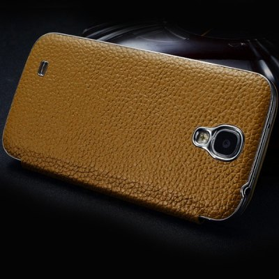 Moby Lichee Pattern Flip Genuine Leather Phone Case with View Window for Samsung Galaxy S4