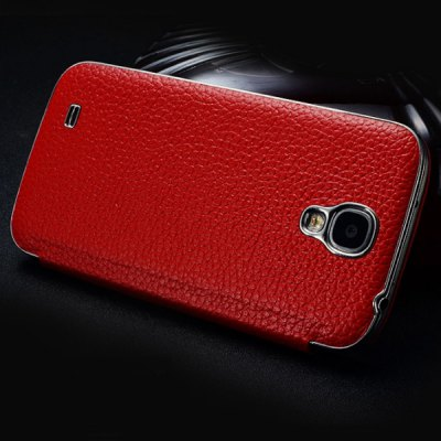 ФОТО Moby Lichee Pattern Flip Genuine Leather Phone Case with View Window for Samsung Galaxy S4