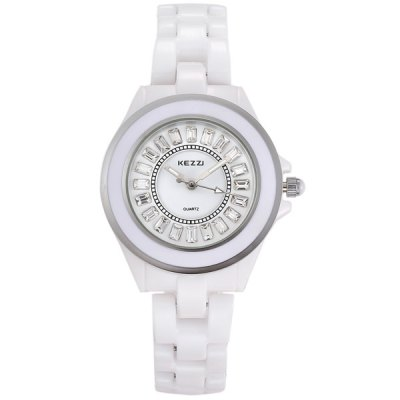 Kezzi Luxurious Diamond Ladies Quartz Watch Round Dial Ceramic StrapWomens Watches<br>Kezzi Luxurious Diamond Ladies Quartz Watch Round Dial Ceramic Strap<br><br>Watches categories: Female table<br>Available color: White<br>Style : Ceramics<br>Movement type: Quartz watch<br>Shape of the dial: Round<br>Display type: Analog<br>Case material: Alloy<br>Band material: Ceramic<br>Clasp type: Sheet folding clasp<br>The dial thickness: 1.0 cm / 0.39 inches<br>The dial diameter: 3.2 cm / 1.26 inches<br>Product weight: 0.060 kg<br>Package weight: 0.11 kg<br>Product size (L x W x H) : 21 x 3.2 x 1 cm / 8.25 x 1.26 x 0.39 inches<br>Package size (L x W x H): 22 x 4.2 x 2 cm / 8.65 x 1.65 x 0.79 inches<br>Package contents: 1 x Kezzi Watch