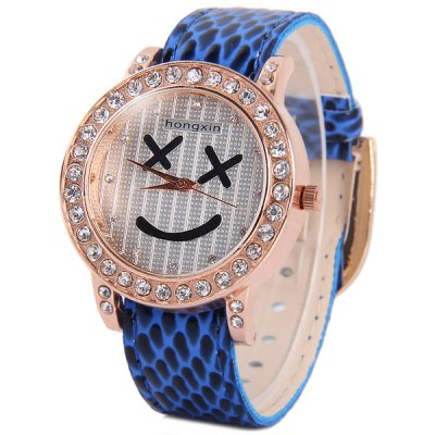 Hongxin Diamond Quartz Watch Smiling Face Pattern Round Dial Leather Band for Women