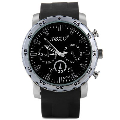 S - 519 Large Dial Rubber Band Sports Watch with Decorative Sub - dial