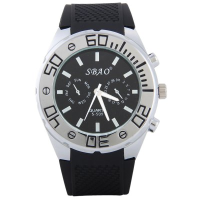 S - 509 Large Dial Rubber Band Sports Watch with Decorative Sub - dial