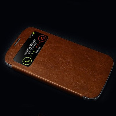 ФОТО Moby Smart View Window Design Flip Vintage Waxy Leather Cover Case for Samsung Galaxy S4 i9500
