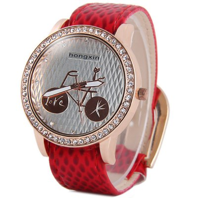 ФОТО Hongxin Diamond Quartz Watch Bicycle Pattern Round Dial Leather Band for Women