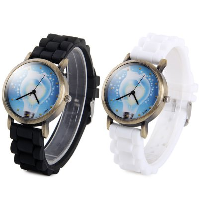 ФОТО Y104 Unisex Quartz Watch with Bulb Pattern Rubber Band Round Dial