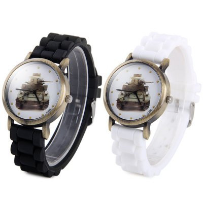ФОТО Y106 Unisex Quartz Watch with Tank Pattern Rubber Band Round Dial