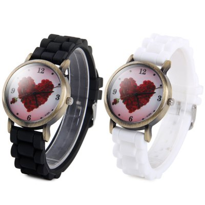 ФОТО Y103 Unisex Quartz Watch with Heart - shaped Pattern Rubber Band Round Dial